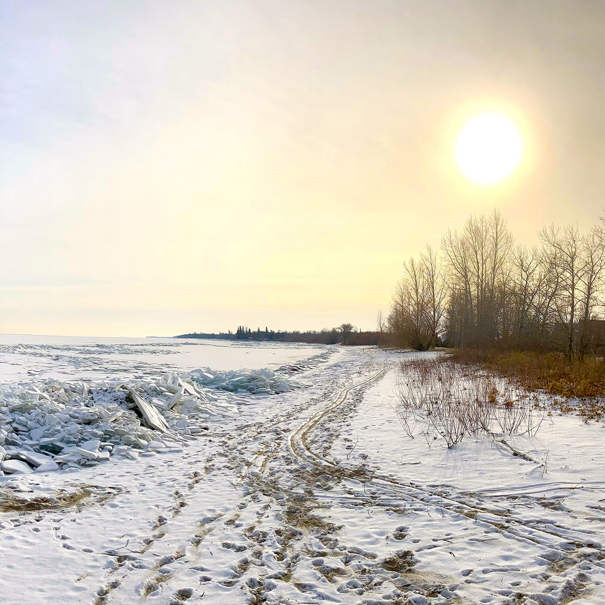 Aurora Recovery Centre on the shores of a frozen Lake Winnipeg